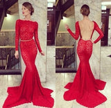 Red Long Sleeves Lace Mermaid Open Back Sexy Long Prom Dresses, WG581