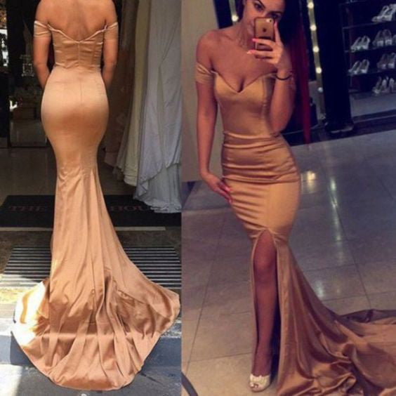 Off Shoulder Side Slit Simple Mermaid Long Prom Dresses, WG586