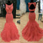 Two Pieces Open Back Applique Mermaid Long Prom Dresses, WG587