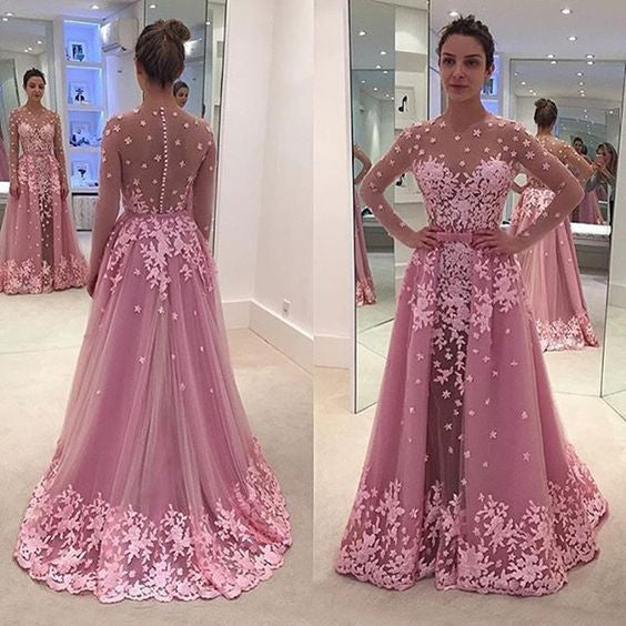 New Arrival Long Sleeves Seen Through Applique Long Prom Dresses, WG592