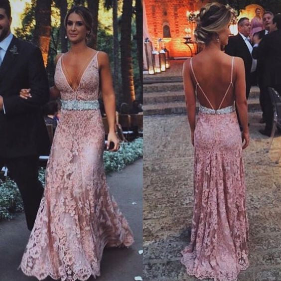 Dusty Pink Deep V Neck Open Back Lace Long Prom Dresses, WG596