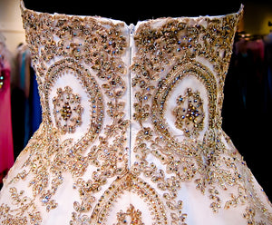 Gorgeous Sweet Heart White Golden Beaded Long Ball Gown Prom Dresses, WG597