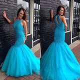 Blue Mermaid Beaded Beautiful Elegant Long Prom Dresses, WG599 - Wish Gown