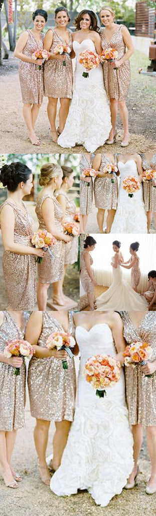 Best Sale Sequin Off Shoulder V-Neck Shinning Knee-Length Inexpensive Free Custom Make Bridesmaid Dress, WG13 - Wish Gown