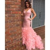 Pink Mermaid Affordable Sexy V Neck Long Prom Dresses, WG600
