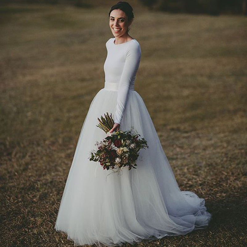 Simple White Long Sleeves Cheap Custom Make Long Wedding Dresses, WG603