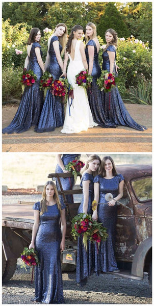 Charming Popular Cap Sleeve Round Neck Royal Blue Sequin Mermaid Long Bridesmaid Dresses, WG61 - Wish Gown