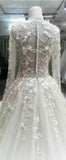 Lauxury Long Sleeves Charming Applique Lace Long Wedding Party Dresses, WG616
