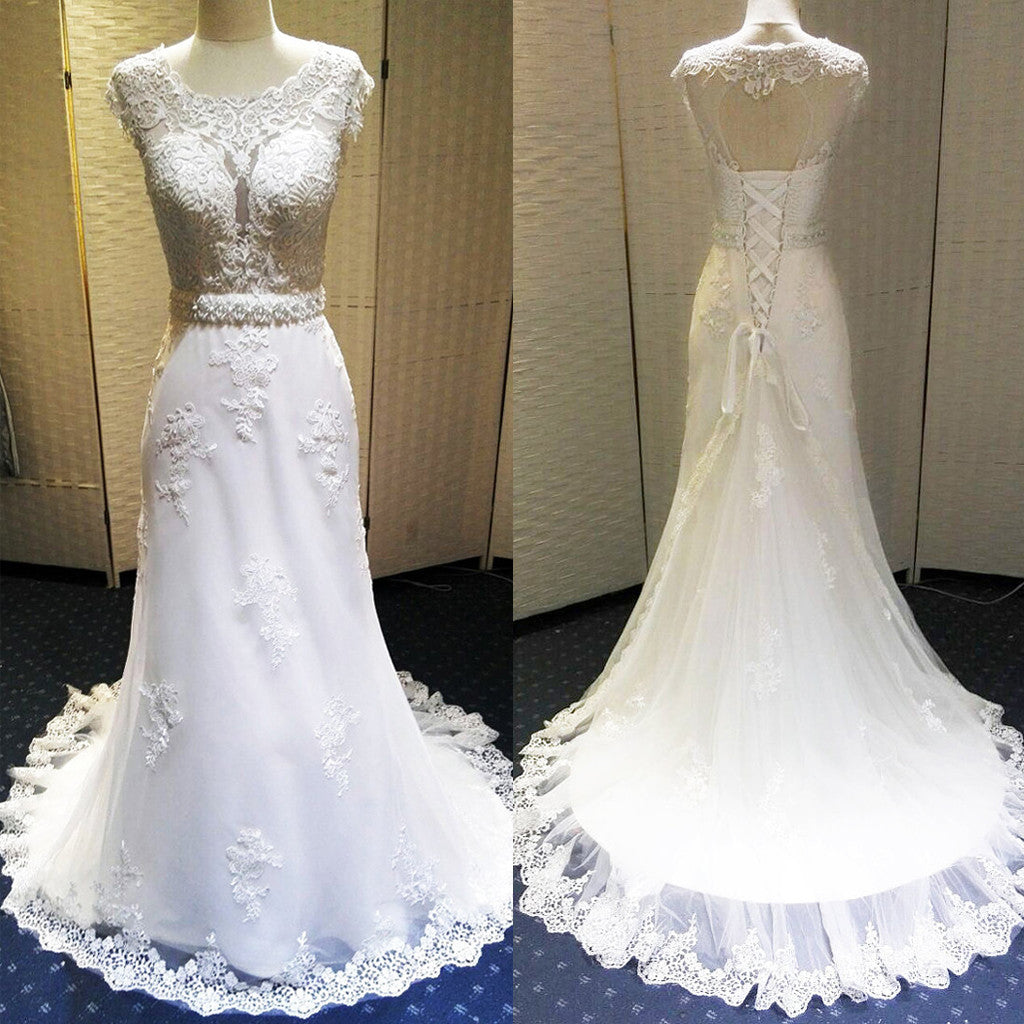 Charming Unique Open Back Lace Up Cap Sleeve Lace Beaded Long Wedding Dresses, WG617 - Wish Gown