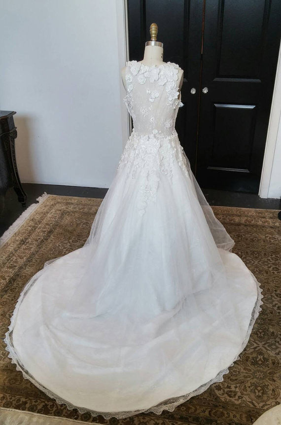 Charming V Neck Handmade Flowers Pretty See Through Back Bridal Gown, WG618 - Wish Gown