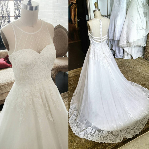 Charming Unique Round Neck Sleeves White Lace See Through Back Long Wedding Dress, WG627 - Wish Gown