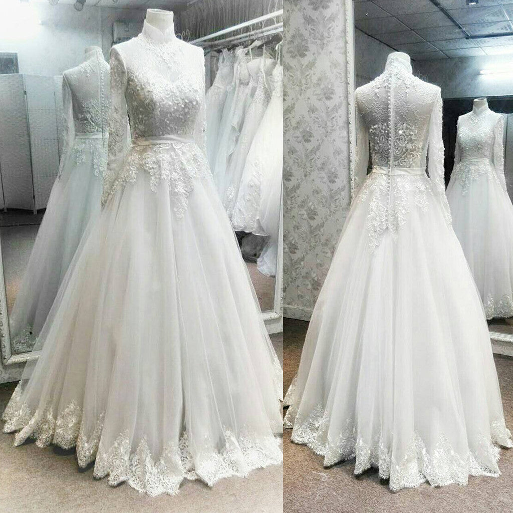 Charming High Neck Long Sleeves Lace Applique Luxury Long Wedding Bridal Ball Gown, WG630 - Wish Gown