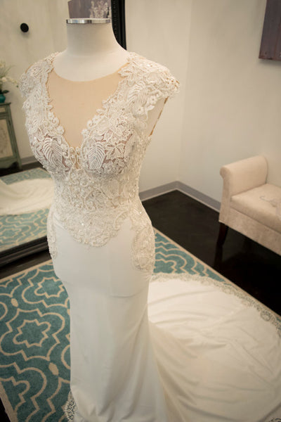 Seen Through Back Whtie Mermaid Lace Inexpensive Romantic Long Wedding Dress, WG633