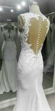 Charming Elegant See Through Back White Mermaid Lace Long Bridal Wedding Dress, WG634 - Wish Gown
