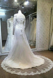Long Sleeves Straight Neck Charming Lace Beaded Stunning Inexpensive Long Bridal Wedding Dress, WG635