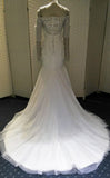 Gorgeous Beaded Long Sleeves Mermaid Straight Neck Long Bridal Wedding Dress Gown, WG637 - Wish Gown