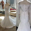 Gorgeous Beaded Long Sleeves Mermaid Straight Neck Long Bridal Wedding Dress Gown, WG637