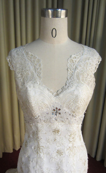 Gold Embroidered Lace Unique V Neck Charming Long Wedding Bridal Gown, WG639 - Wish Gown