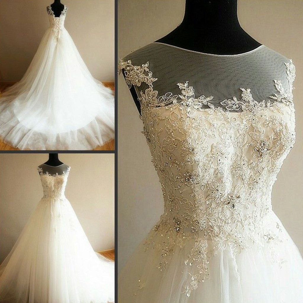 Charming Illusion Long A-line Lace Up Tulle Rhinestone Wedding Party Dresses, WD0063 - Wish Gown