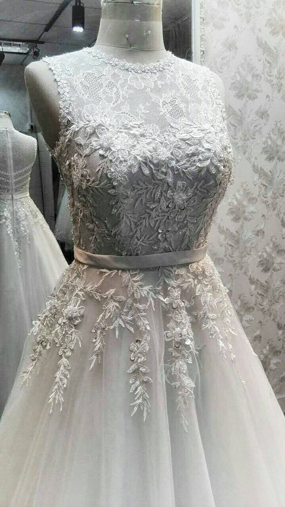 Unique Beaded Mixed Lace See Through Charming Applique Long Wedding Dress, WG642