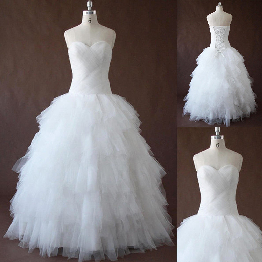 Criss Cross Tulle Simple Pleated Sweetheart Neckline Cheap Long Wedding Dress, WG644 - Wish Gown