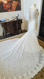 Inspired Lace Pearl Detailing Fitted Trumpet Style Long Sleeves Wedding Dress, WG645