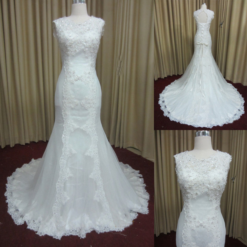 Stunning Lace White Elegant Lace Up Open Back Online Cheap Wedding ...