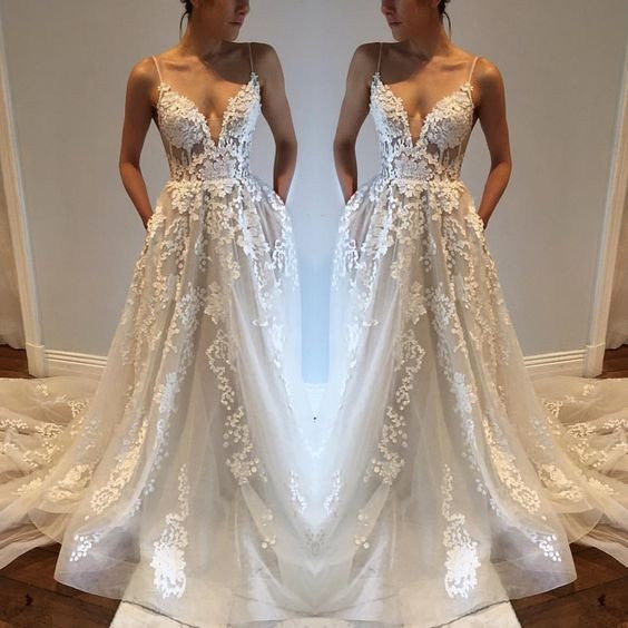 Gorgeous Ivory Charming Affordable Long Brides Wedding Dresses, WG651 - Wish Gown