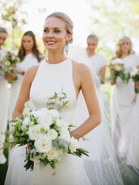 Charming Simple Cheap Open Back Affordable Long Wedding Brides Dresses, WG653 - Wish Gown