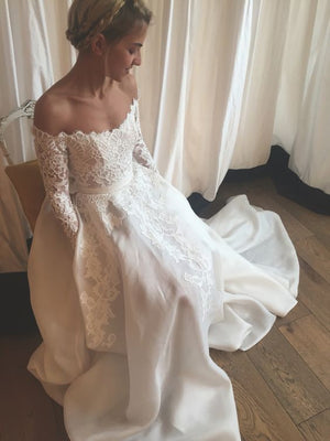 Off the Shoulder Lace Long Sleeve Elegant Cheap Long Wedding Dresses, WG654