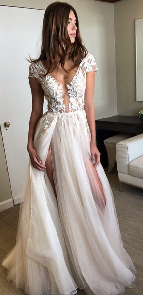 Cap Sleeves Seen Through Deep V Neck Sexy Split Long Prom Wedding Dresses, WG657 - Wish Gown