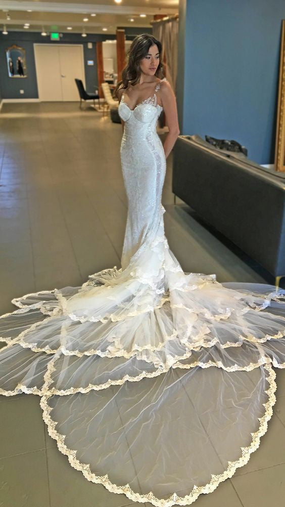 Gorgeous Mermaid Lace Unique Long Train Wedding Dresses, WG660 - Wish Gown
