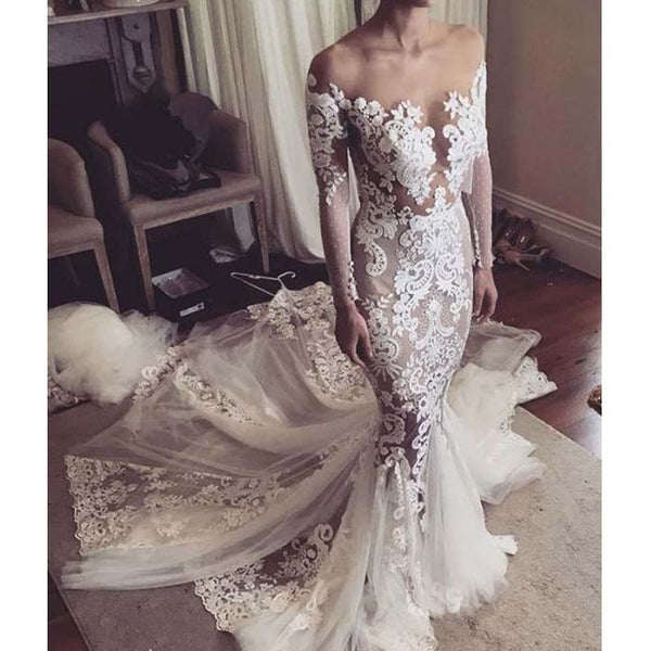 Charming Sexy Tulle Applique long sleeves Mermaid Long Wedding Dresses, WG662 - Wish Gown