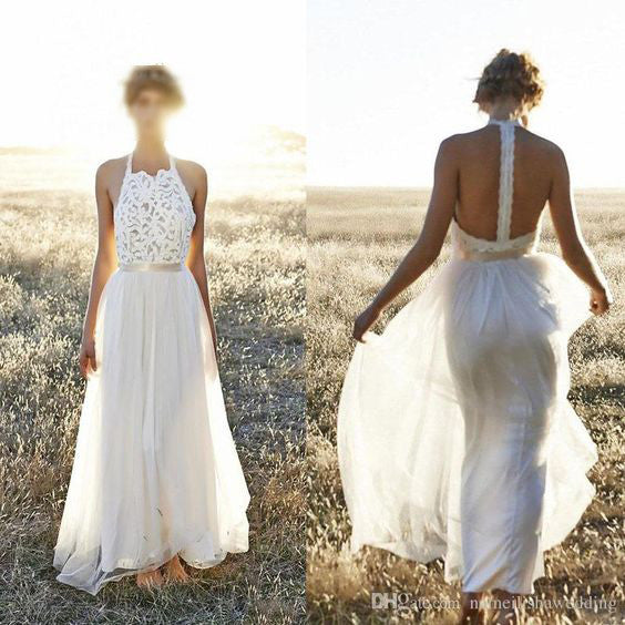 Simple Lace Top Chiffon Formal Long Brides Beach Wedding Dresses, WG664