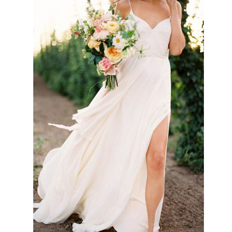 Chiffon Ivory Simple Sexy Side Split Long Brides Beach Wedding Dresses, WG665