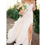 Chiffon Ivory Simple Sexy Side Split Long Brides Beach Wedding Dresses, WG665 - Wish Gown