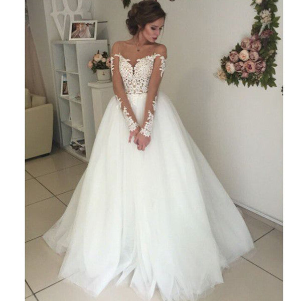 Bridal Unique Applique Long Sleeves Open Back Long Wedding Dresses, WG667 - Wish Gown