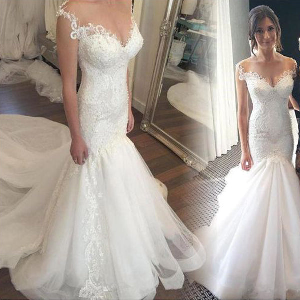 Charming Mermaid Tulle Lace Long Affordable Bridal Wedding Dress, WG669 - Wish Gown