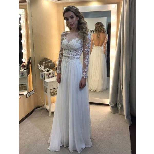 Long Sleeves Open Back Lace Chiffon Cheap Formal Long Wedding Dresses, WG673