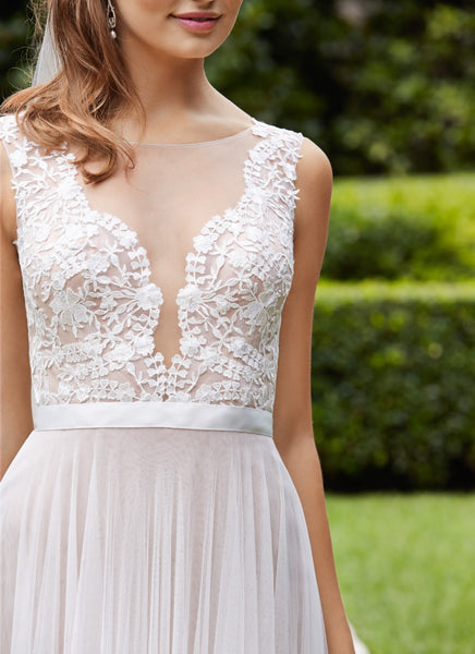 Affordable Seen Through V Neck Lace Top Popular Formal Long Wedding Dresses, WG675 - Wish Gown