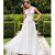 Affordable Seen Through V Neck Lace Top Popular Formal Long Wedding Dresses, WG675