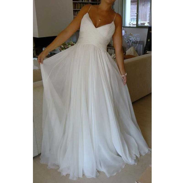Cheap Simple Spaghetti Strap Formal Long Wedding Dresses, WG677 - Wish Gown