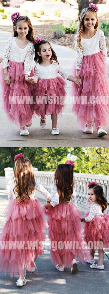 Long Sleeves Lace Top Inexpensive Long Lovely Flower Girl Dresses, FGS121