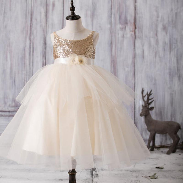 013cb7dd40e2 Gold Sequin Top Tulle Flower Girl Dresses, Lovely Tutu Dresses for Little  Girl, FG052