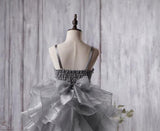 Dark Grey Sequin Organza Bustled Flower Tutu Dresses, Cheap Popular Flower Girl Dresses, FG053 - Wish Gown