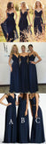 Convertible New Design Elegant Lace Chiffon Navy Blue A Line Floor-Length Inexpensive Bridesmaid Dresses, WG70 - Wish Gown