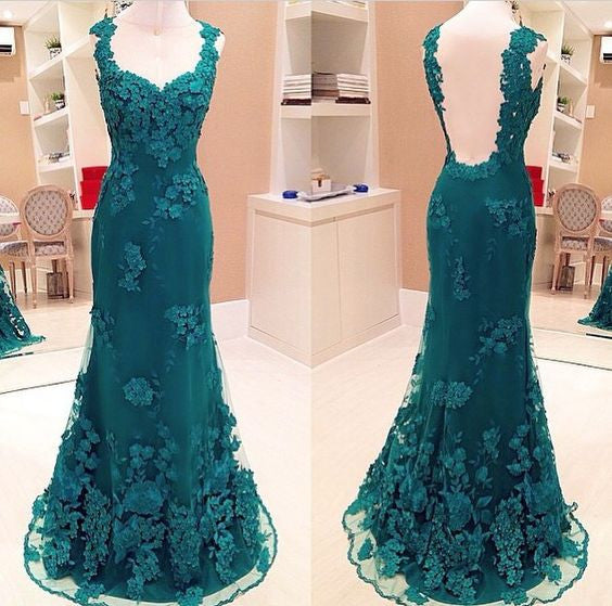 Green Lace Open Back Mermaid Elegant Long Prom Dresses, WG702