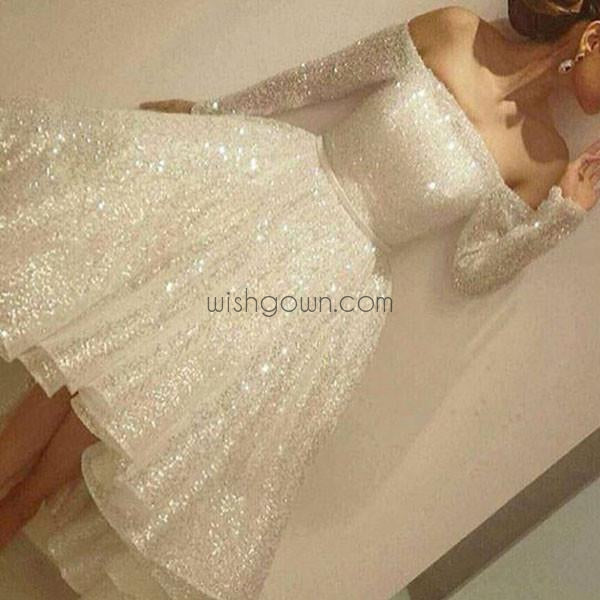 Charming Long Sleeve Shinning Straight Neck Beautiful Junior Homecoming Dress, WG703 - Wish Gown