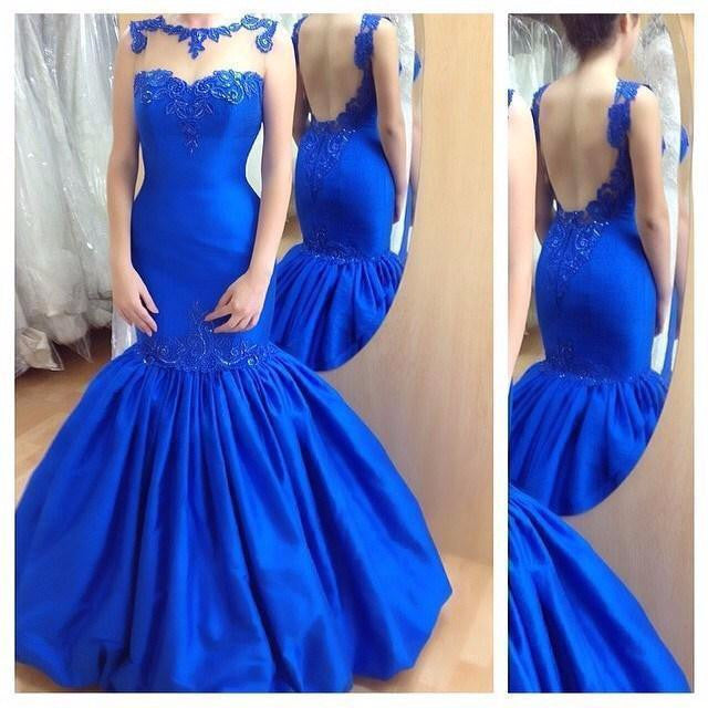 Royal Blue Mermaid Affordable Backless Long Prom Dresses, WG707