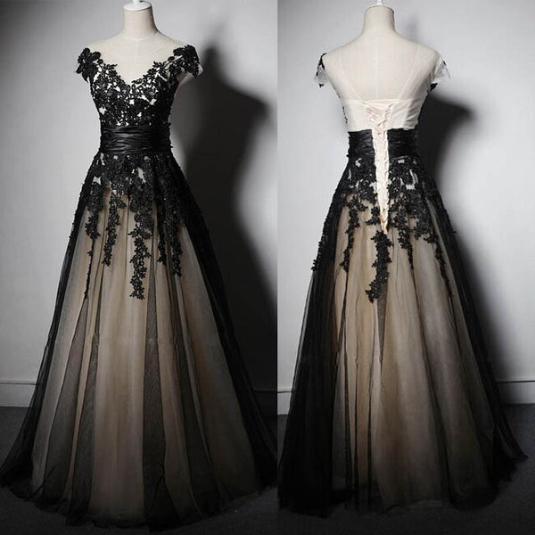 Black Applique Cap Sleeve Lace Up Back V Neck Long Prom Dresses, WG708 - Wish Gown